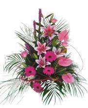 Centro gerberas y anturium rosado