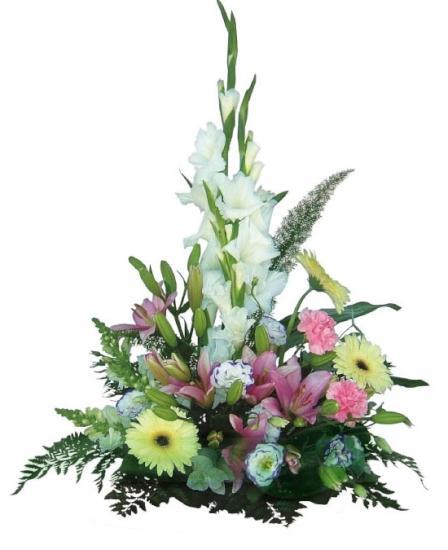 Centro de flores tonos claros