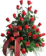 Centro funerario 30 rosas rojas