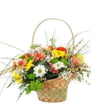 Cesta flores estilo campestre