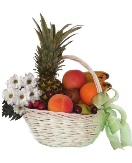 Cesta de frutas y margaritas a domicilio