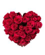 Centro funerario corazón rosas rojas