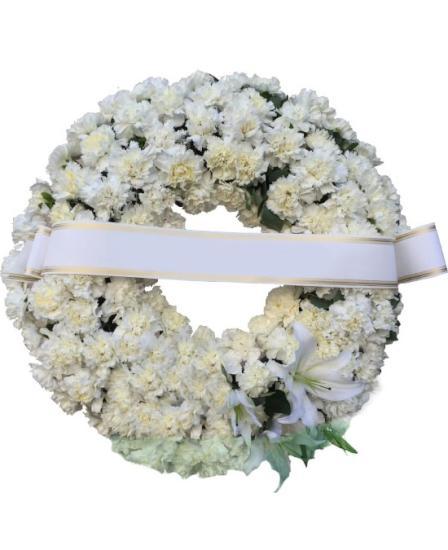 Corona funeraria claveles blancos