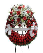 Corona funeraria un cabezal roja