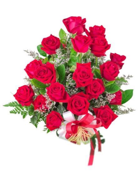 Ramo de dieciocho rosas
