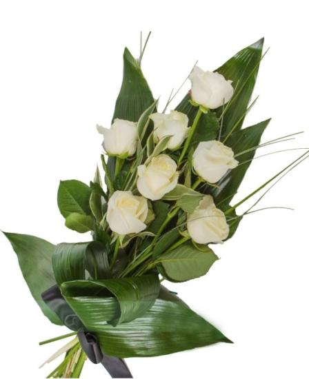 Ramo funerario siete rosas blancas
