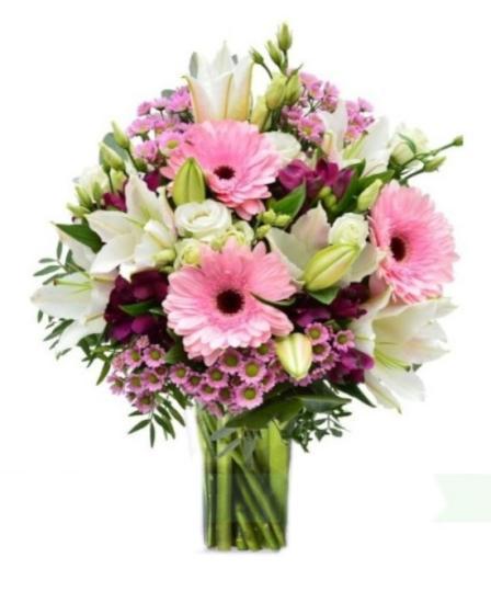 Ramo flores variadas tonos rosado