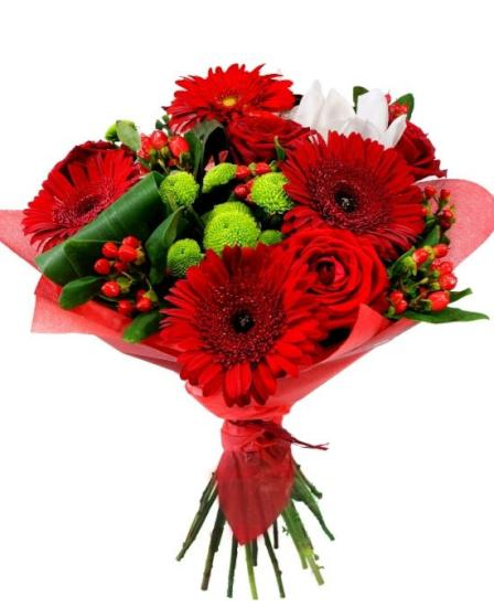 Ramos rosas y gerberas color rojo