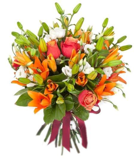 Ramo de rosas y lirios tono anaranjado